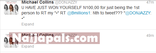 Don-Jazzy Gives Twitter Follower N100,000 For Retweeting Him